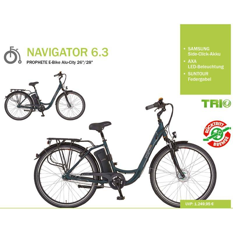 prophete navigator 6 3 damen ebike mit trio motor. Black Bedroom Furniture Sets. Home Design Ideas
