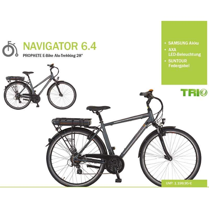 prophete navigator 6 4 trekking ebike 2016. Black Bedroom Furniture Sets. Home Design Ideas