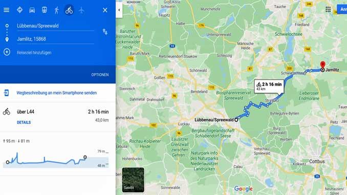 Neue Radwege bei GoogleMaps